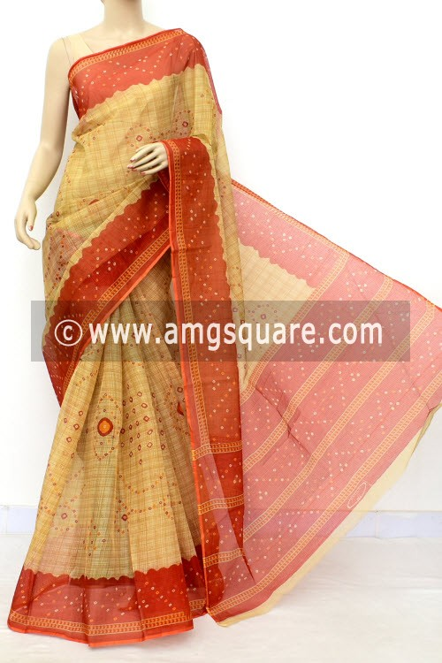 Rust Fawn JP Kota Doria Chunri Print Cotton Saree (without Blouse) 15538