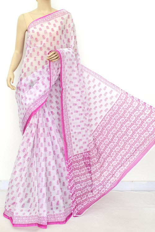 Magenta JP Kota Doria Printed Cotton Saree (without Blouse) 15540