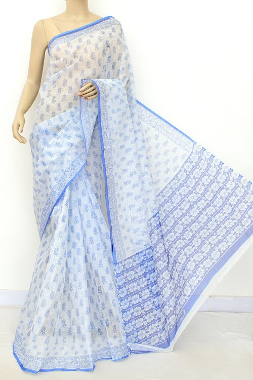 Blue JP Kota Doria Printed Cotton Saree (without Blouse) 15541