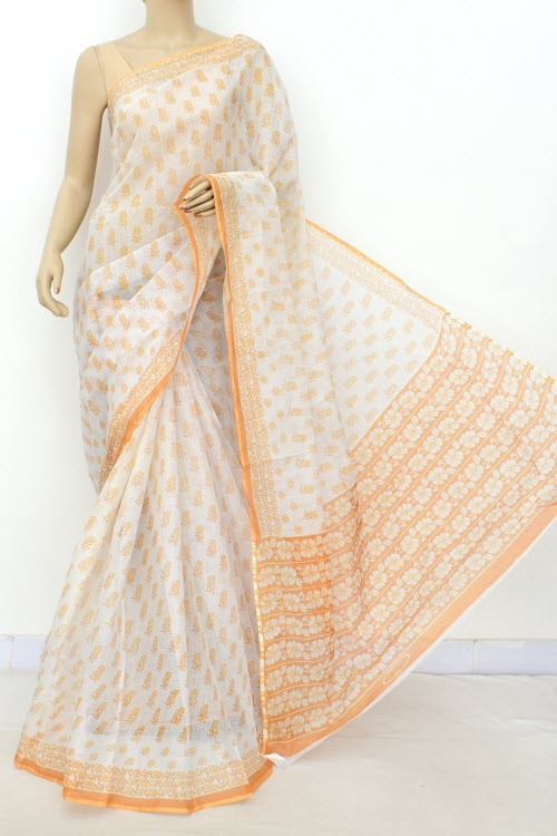 Light Orange JP Kota Doria Printed Cotton Saree (without Blouse) 15542
