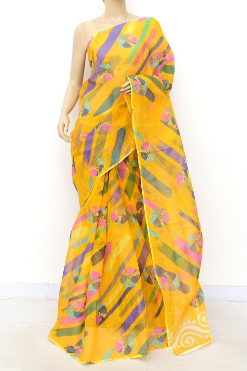 Turmeric Yellow JP Kota Doria Batik Print Cotton Saree (without Blouse) 15543