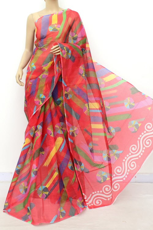 Red JP Kota Doria Batik Print Cotton Saree (without Blouse) 15544