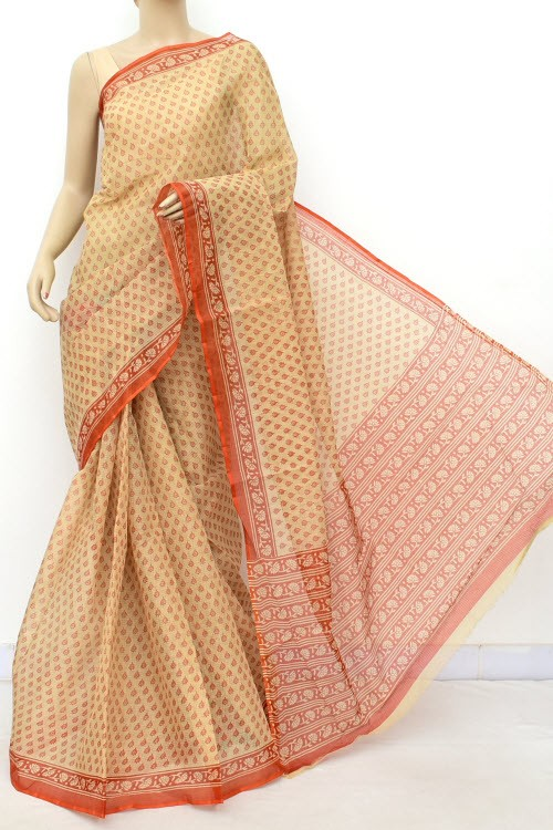 Fawn Orange JP Kota Doria Printed Cotton Saree (without Blouse) Allover Booti 15548