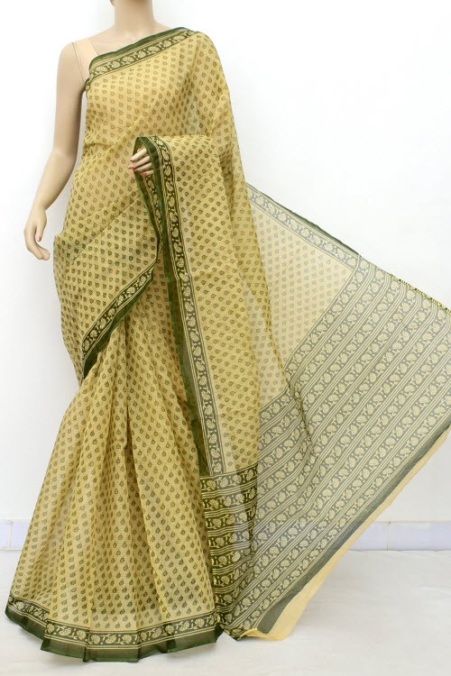 Fawn Green JP Kota Doria Printed Cotton Saree (without Blouse) Allover Booti 15549