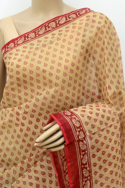 Fawn Red JP Kota Doria Printed Cotton Saree (without Blouse) Allover Booti 15550