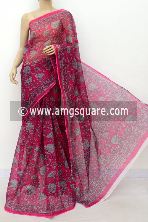 Magenta Grey JP Kota Doria Printed Cotton Saree (without Blouse) 15551