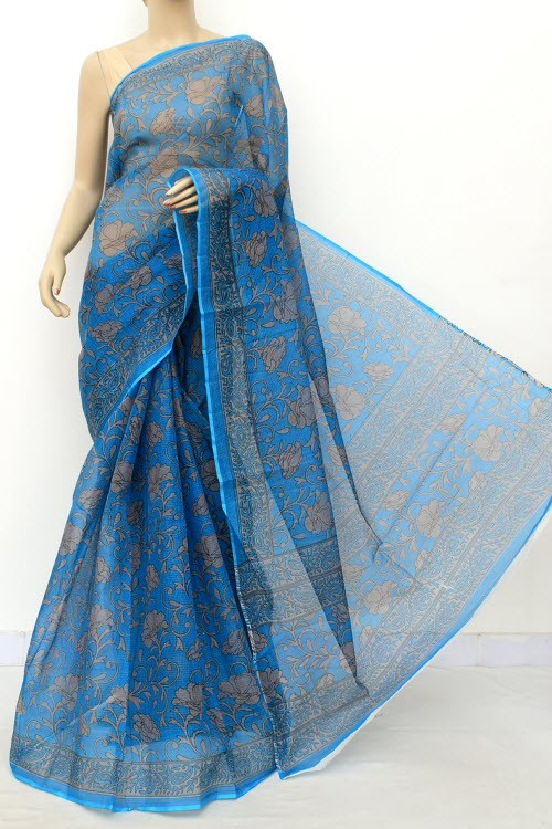 Blue Grey JP Kota Doria Printed Cotton Saree (without Blouse) 15552