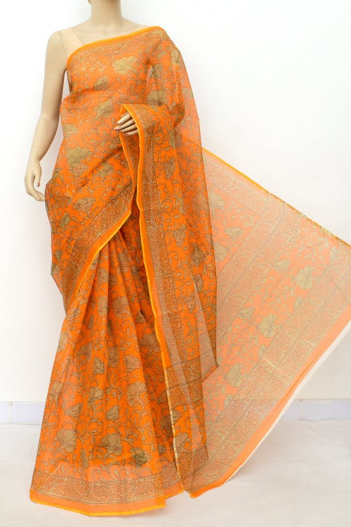 Deep Yellow JP Kota Doria Printed Cotton Saree (without Blouse) 15553