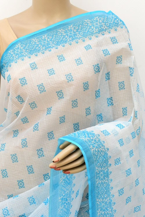 Pherozi Blue White JP Kota Doria Printed Cotton Saree (without Blouse) 15556
