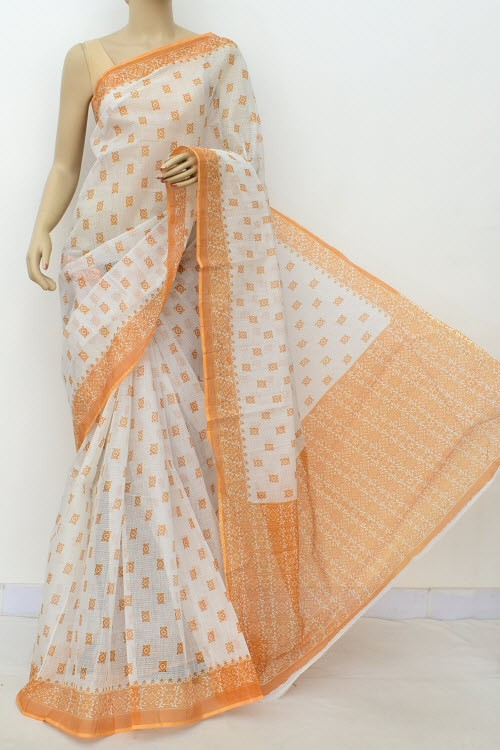 Mustard Yellow White JP Kota Doria Printed Cotton Saree (without Blouse) 15557