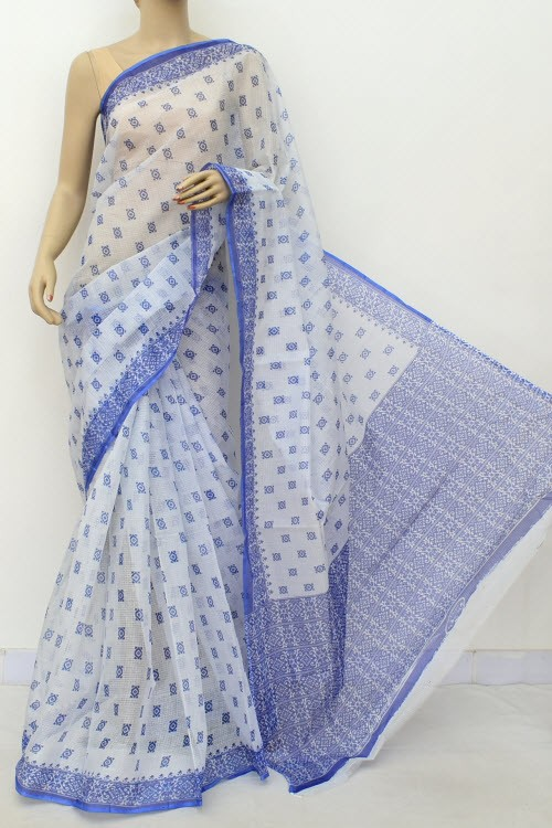 Blue White JP Kota Doria Printed Cotton Saree (without Blouse) 15558