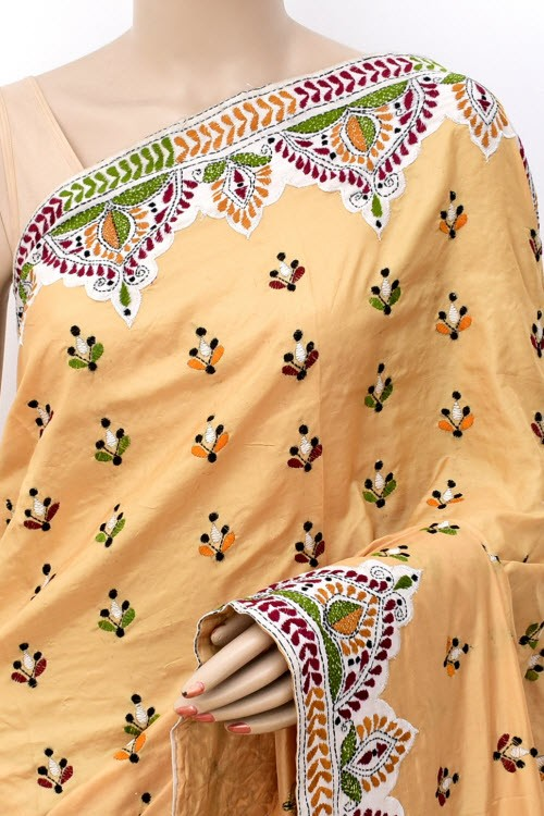 Beige Yellow Hand-Embroidered Kantha Stitch Dupion Silk Saree (With Blouse) Applique Work 16271