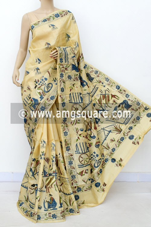 Beige Exclusive Hand-Embroidered Kantha Stitch Tusser Silk Saree (With Blouse) 16272
