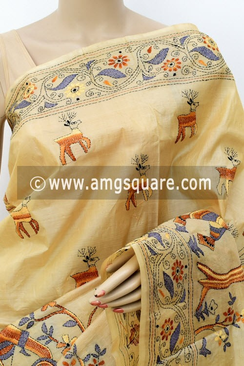 Beige Exclusive Hand-Embroidered Kantha Stitch Tusser Silk Saree (With Blouse) 16273