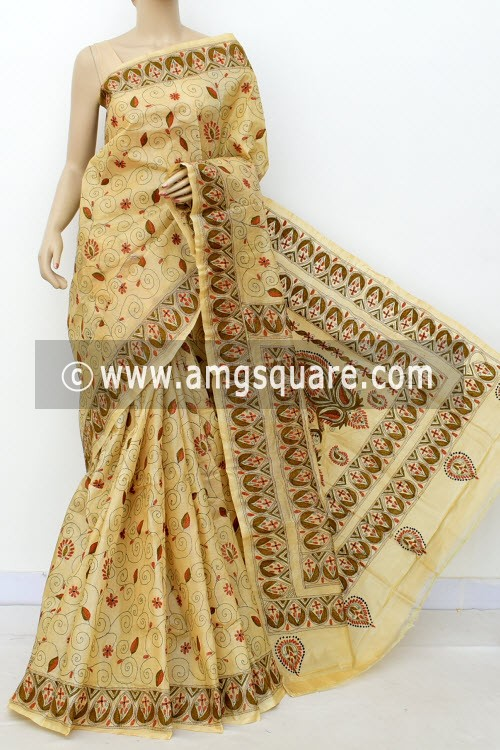 Beige Exclusive Hand-Embroidered Kantha Stitch Tusser Silk Saree (Without Blouse) 16274