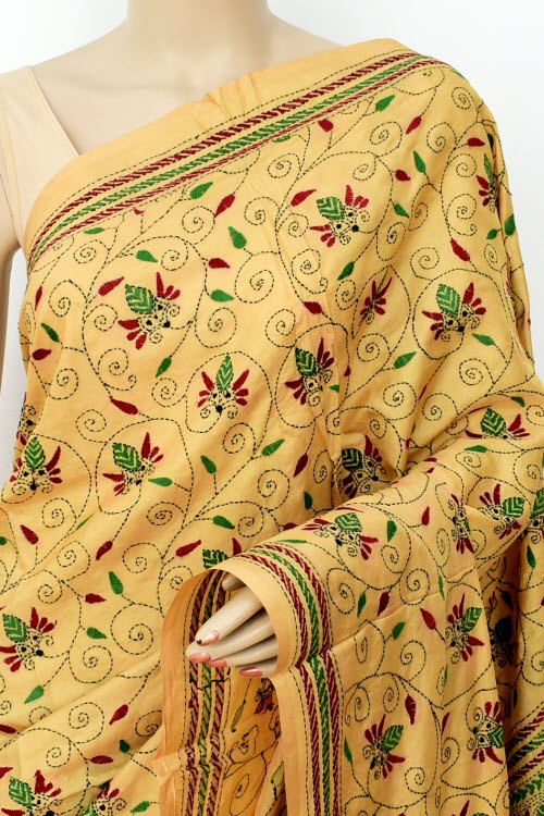 Beige Exclusive Hand-Embroidered Kantha Stitch Tusser Silk Saree (Without Blouse) 16275