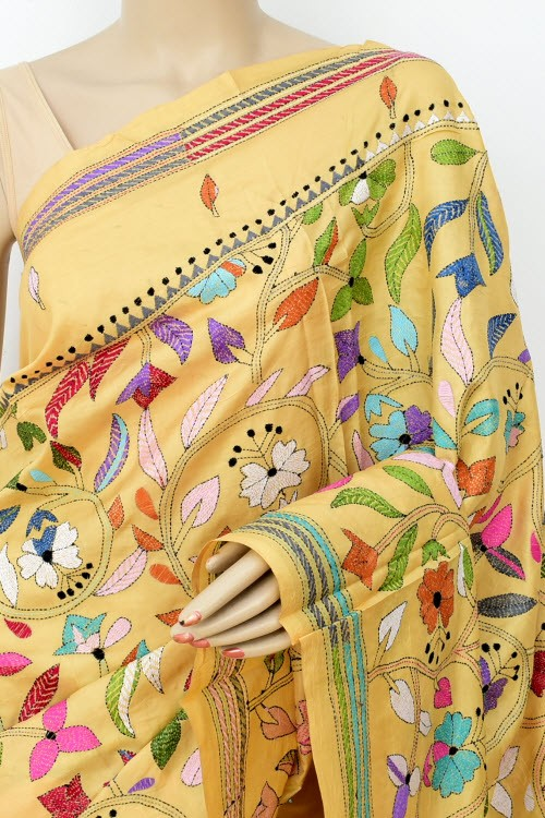 Beige Exclusive Hand-Embroidered Kantha Stitch Tusser Silk Saree (Without Blouse) 16276
