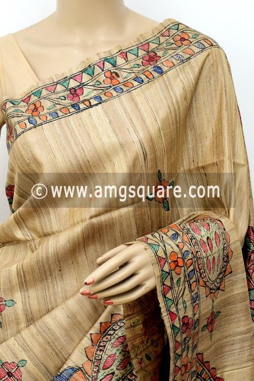 Madhubani Hand Printed Handloom Pure Matka Silk Saree (With Blouse) 16279