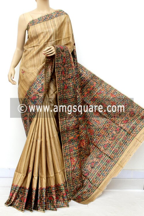 Madhubani Hand Printed Handloom Pure Matka Silk Saree (With Blouse) 16280