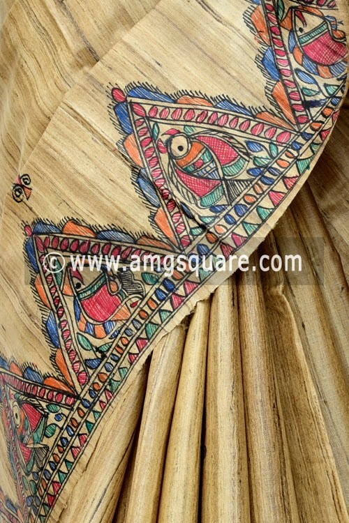 Madhubani Hand Printed Handloom Pure Matka Silk Saree (With Blouse) 16283