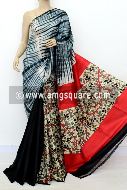 Red Black Batik & Kalamkari Print Handloom Double Knitted Pure Silk Saree (With Blouse) 16284