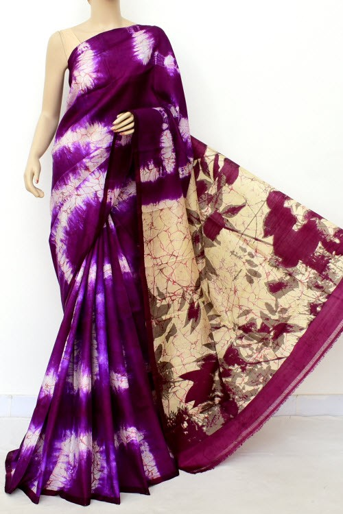Purple Batik Print Handloom Double Knitted Pure Silk Saree (With Blouse) 16285