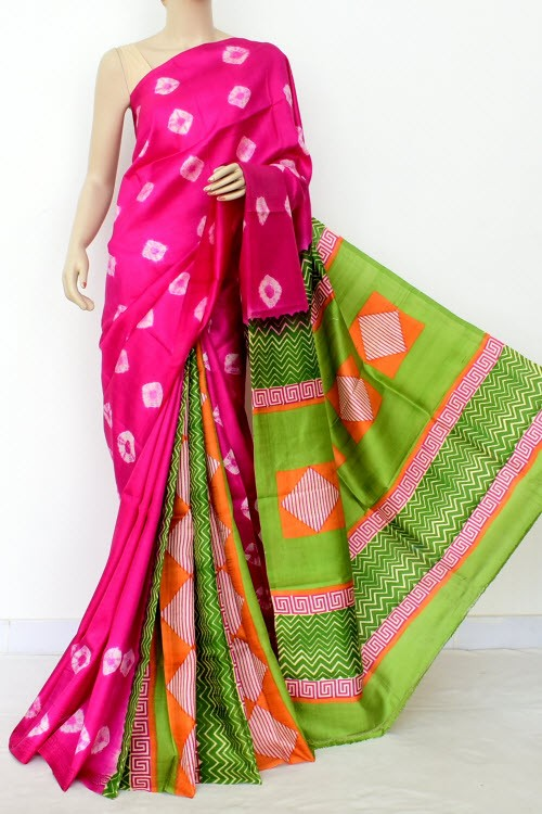 Pink Green Batik Print Patli Pallu Handloom Double Knitted Pure Silk Saree (With Blouse) 16286
