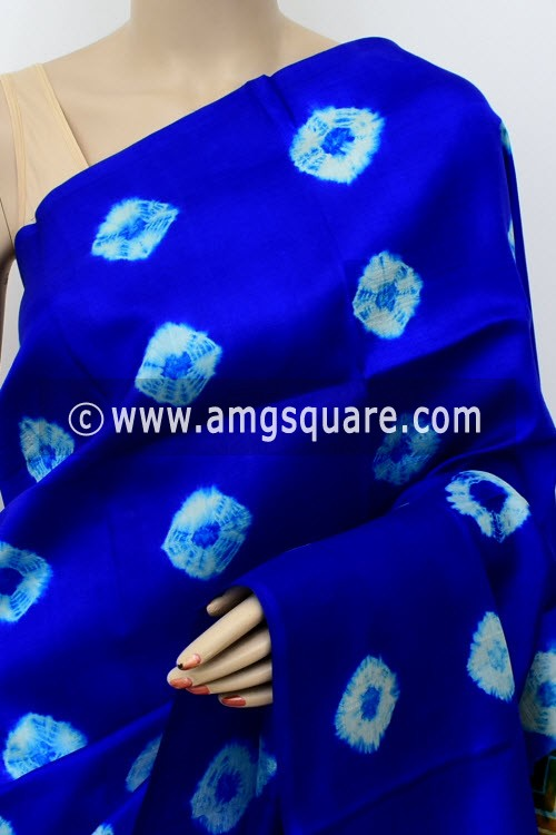 Royal Blue Mustard Printed Handloom Double Knitted Pure Silk Saree (With Blouse) 16287