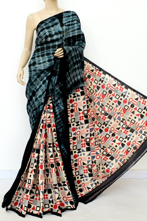 Black Grey Batik Print Patli Pallu Handloom Double Knitted Pure Silk Saree (With Blouse) Geometrical Pattern 16288