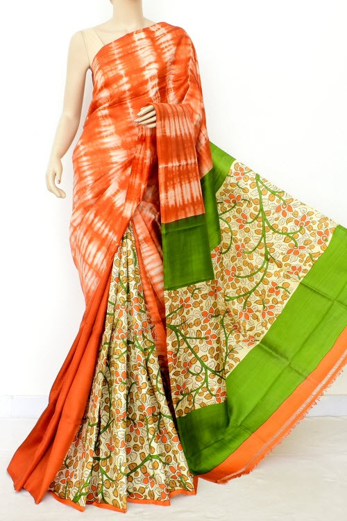 Orange Green Batik Print Patli Pallu Handloom Double Knitted Pure Silk Saree (With Blouse) 16289