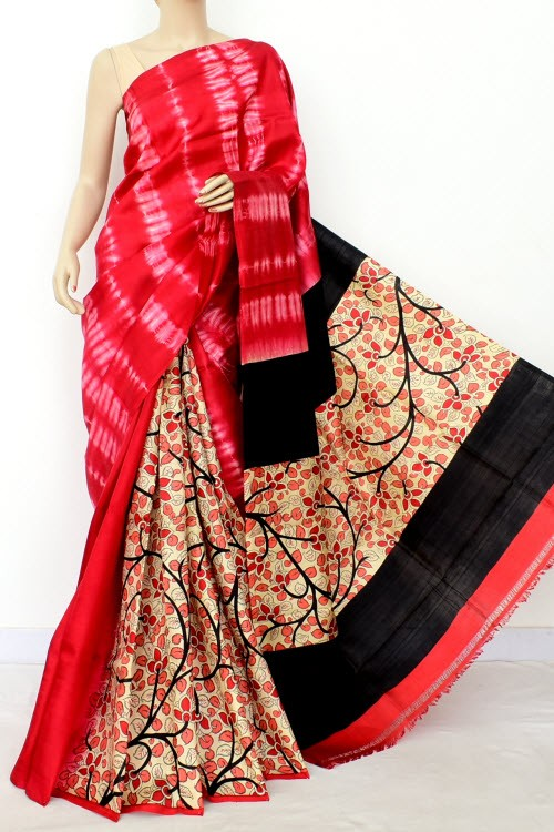 Red Black Batik Print Patli Pallu Handloom Double Knitted Pure Silk Saree (With Blouse) 16291