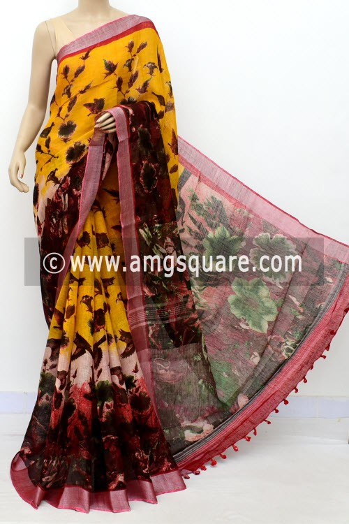 Yellow Exclusive Wrinkle Free Linen Fabric Digital Printed Saree (With Blouse) 16296