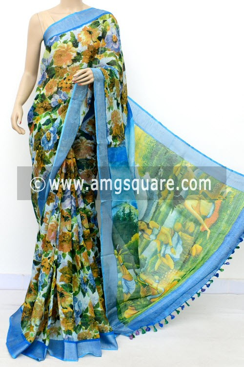 Pherozi Blue Exclusive Wrinkle Free Linen Fabric Digital Printed Saree (With Blouse) 16297