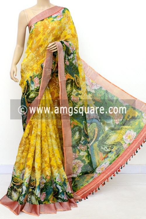 Yellow Exclusive Wrinkle Free Linen Fabric Digital Printed Saree (With Blouse) 16298