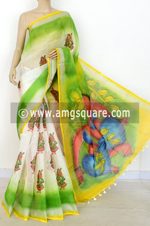 White Exclusive Wrinkle Free Linen Fabric Hand Printed Saree (Without Blouse) 16301