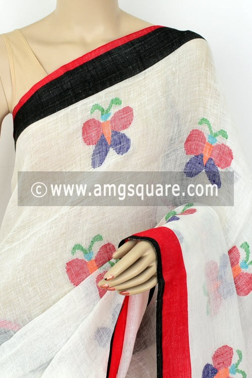 White Exclusive Wrinkle Free Pure Linen Fabric Jamdani Saree (Without Blouse) Ganga Yamuna Border 16302