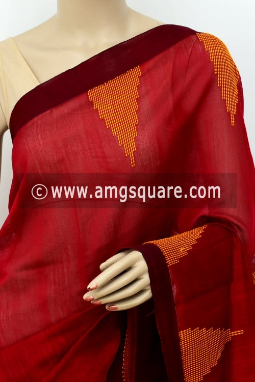 Red Handloom Masturised Cotton Saree (With Contrast Blouse) 16305