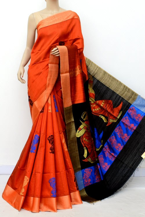 Rust Black Pure Katan Silk Handloom Saree (with Blouse) Zari Border 16308