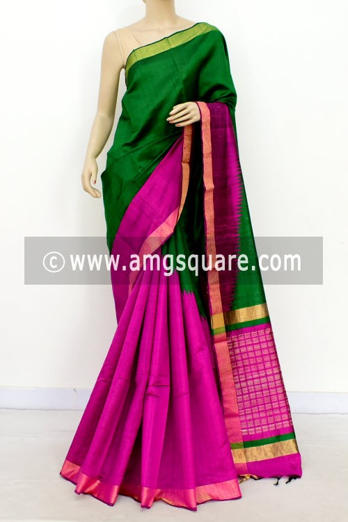 Green Rani Pink Katan Silk Handloom Saree (with Blouse) Half-Half 16310