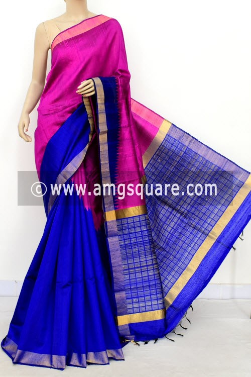 Royal Blue Magenta Katan Silk Handloom Saree (with Blouse) Half-Half 16311