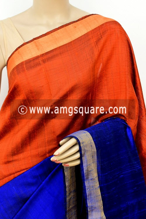 Royal Blue Rust Pink Katan Silk Handloom Saree (with Blouse) Half-Half 16312