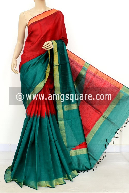 Green Red Katan Silk Handloom Saree (with Blouse) Half-Half 16313