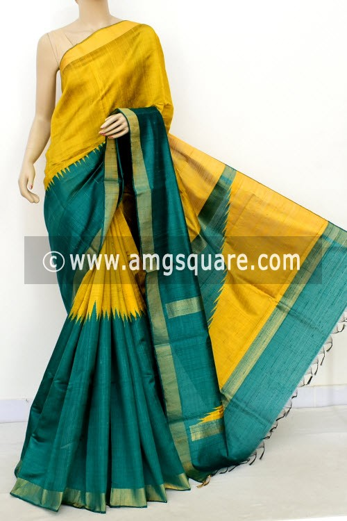 Green Yellow Katan Silk Handloom Saree (with Blouse) Half-Half 16314