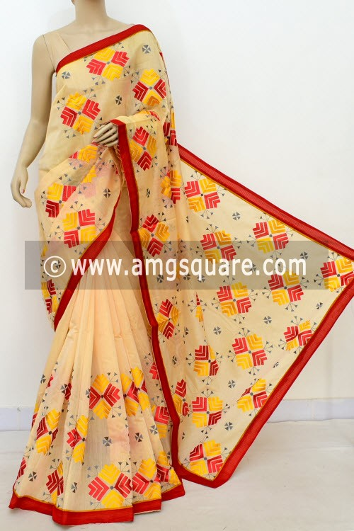 Fawn Embroidered Handloom Mercerized Cotton Saree (With Blouse) 16319