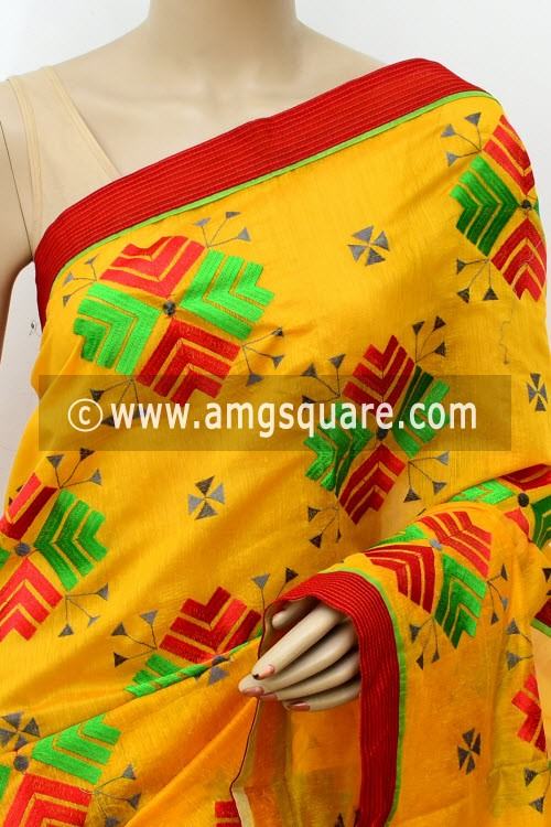 Yellow Embroidered Handloom Mercerized Cotton Saree (With Blouse) 16320