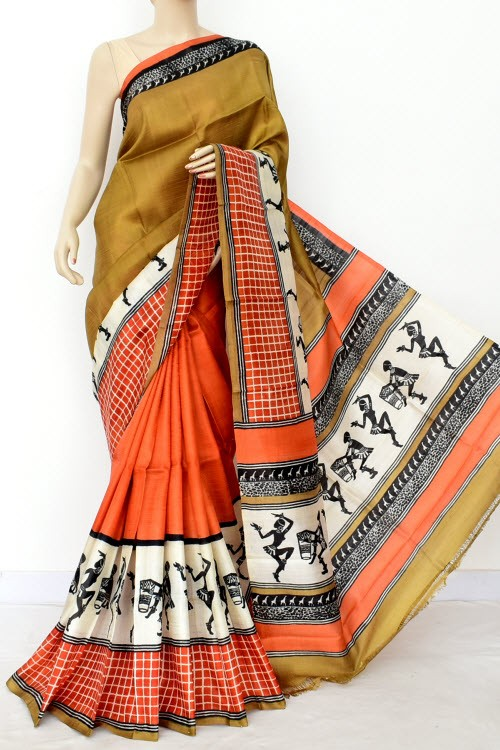 Golden Yellow Orange Half-Half Printed Handloom Double Knitted Pure Silk Saree (With Blouse) 16326