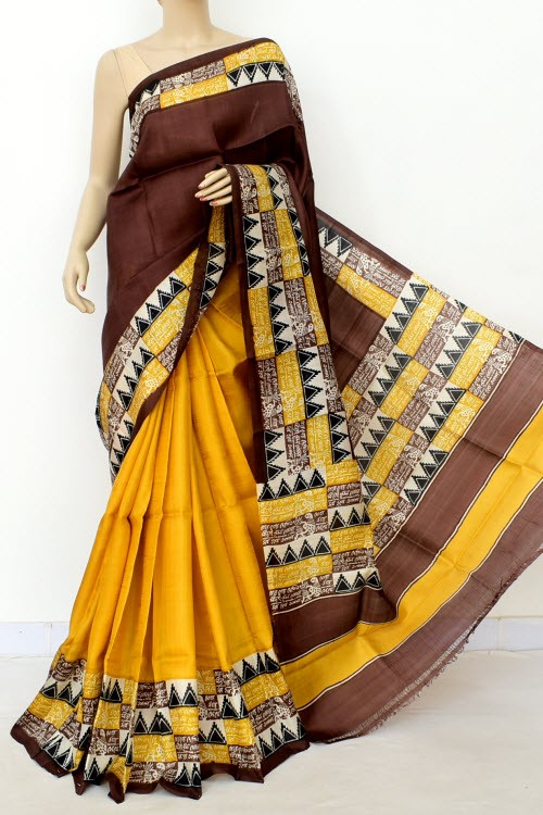 Chocolate Yellow Half-Half Printed Handloom Double Knitted Pure Silk Saree (With Blouse) 16327