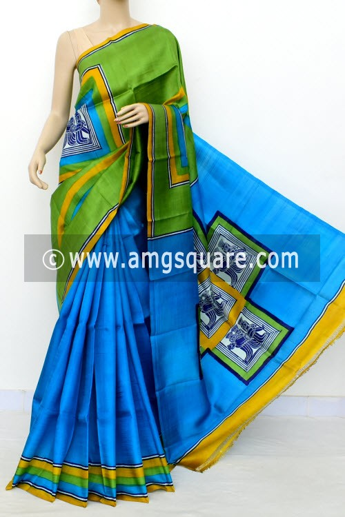 Pherozi Blue Green Printed Handloom Double Knitted Pure Silk Saree (With Blouse) 16328