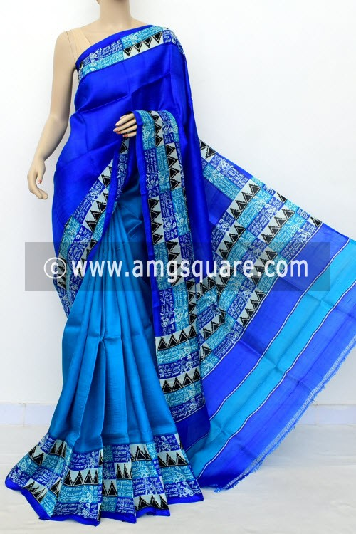 Pherozi Blue Half-Half Printed Handloom Double Knitted Pure Silk Saree (With Blouse) 16330