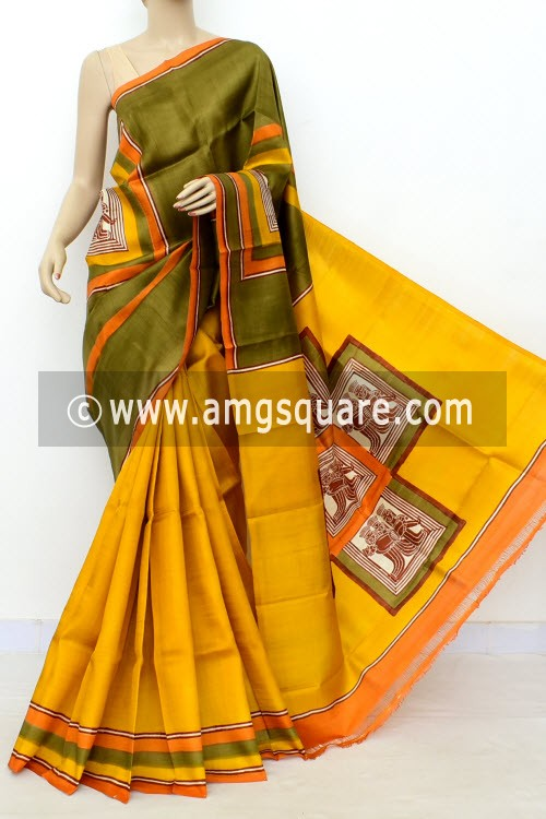 Yellow Kahi Green Half-Half Printed Handloom Double Knitted Pure Silk Saree (With Blouse) 16331